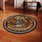 Personalized woodshop round rug