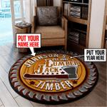 Personalized lumberjack round rug