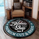 Personalized barber shop round rug