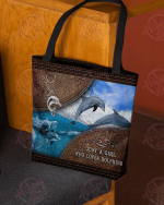 Dolphin Leather Pattern Print All-Over Tote