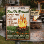 Personalized Camping Fire Pit Forecast Customized Classic Metal Signs