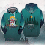 Log Out Go Explore Forest Car Moon Camping 3D All Over Printed Hoodie