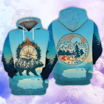 Wander Bear Blue Camping 3D All Over Printed Hoodie