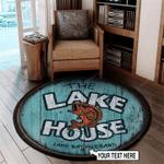 Personalized Barrel Lake House Round Rug