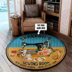 Personalized Sewing Room Round Rug