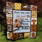 Dachshund Steal Your Bed Quilt Blanket