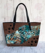 Cat Abstract Leather Tote Bag