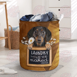 Laundry Today – Dachshund Leather Pattern Print Laundry Basket