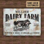 Personalized Cow Dairy Farm Daily Sweet Customized Classic Metal Signs
