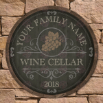 Beauteous Barrel Wine Cellar Sign, Personalized Wine Gift, Custom Wood Sign