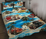Hot Rod On The Beach Quilt Bed Set & Quilt Blanket
