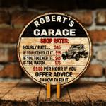 Customized Garage Shop Rates Man Cave Wood Sign