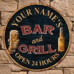 Custom Bar and Grill, Pub Tavern, Beer Bar Wall Decor Gift Wood Sign