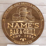 Bar And Grill Sign, Personalized Bar Sign, Carved Wood Sign