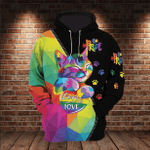 LGBT Cat Love Is Love Pride 3D All Over Printed Hoodie