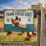 Personalized Chicken Farm Raised Laid Daily Turquoise Customized Classic Metal Signs