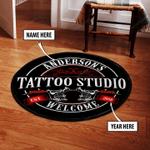 Personalized Tattoo Studio Welcome Round Rug