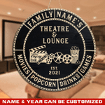 Custom Home Theatre & Lounge Round Wood Sign For Movie Lovers, Home Cinema Decor, Film Theatre