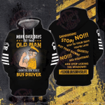 Old Man Bus Driver 3D All Over Printed Hoodie