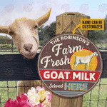 Personalized Goat Milk Served Here Customized Wood Circle Sign