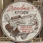 Personalized Baking Grandma Kitchen Tester Customized Wood Circle Sign