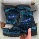 Blue Dragonfly Mandala Leather Boots