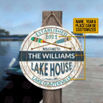 Personalized Boating Lake House Welcome Customized Wood Circle Sign