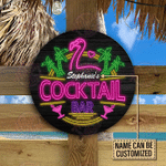 Personalized Flamingo Cocktail Bar Customized Wood Circle Sign