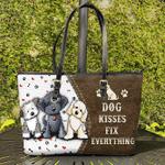 Dog Kisses Leather Tote Bag
