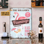 Personalized Flamingo Lounge Best Drinks Customized Classic Metal Signs