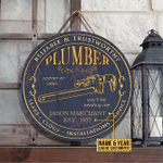 Personalized Plumber Reliable Trustworthy Customized Wood Circle Sign