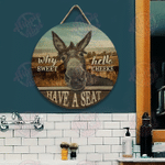Donkey Why Hello Sweet Cheeks Customized Wood Circle Sign