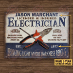 Personalized Electrician Blue Bringing Light Customized Classic Metal Signs