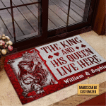 Personalized Poker The King And His Queen Live Here Customized Doormat