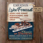 Personalized Pontooning Lake Forecast Warm And Sunny Customized Classic Metal Signs