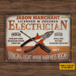 Personalized Electrician Copper Bringing Light Customized Classic Metal Signs