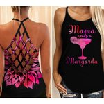 Mama needs a margarita criss-cross tank top