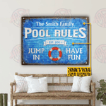 Personalized Swimming Pool Rules Have Fun Customized Classic Metal Signs