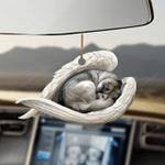 Siberian husky sleeping angel Car Hanging Ornament