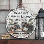 Personalized Wolf Couple Live Here Customized Wood Circle Sign