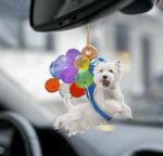 West highland white terrier fly with bubbles westie lovers car hanging ornament