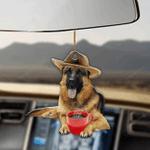 German Shepherd And Coffee Car hanging ornament