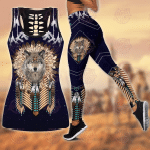 Wolf Native American 3D All Over Printed Legging + Hollow Tank Combo