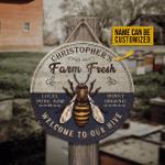 Personalized Honey Bee Farm Fresh Customized Wood Circle Sign
