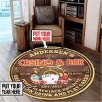 Personalized casino bar poker round rug