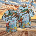 Sea Turtles In Ocean Mosaic Pattern Hawaii Shirt