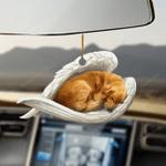 Golden retriever sleeping angel car hanging ornament