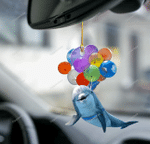 Dolphin fly with bubbles car hanging ornament