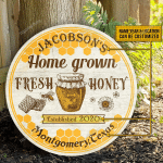 Personalized Fresh Honey Bee Farm Customized Wood Circle Sign
