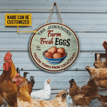 Personalized Chicken Fresh Eggs Local Folks Customized Wood Circle Sign